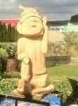 Stele aus Holz, Moto Wood Art, Art Deko, Zwerg aus Holz, Buche, ca 120 cm