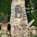 Stele aus Holz, Moto Wood Art, Weisstanne, ca 160cm