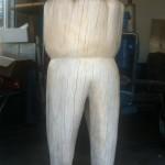 Stele aus Holz, Moto Wood Art,Backenzahn, Zahnarztbedarf,  Massiv Buche, ca 150 cm